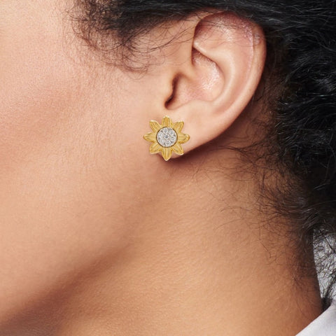 Yellow Gold Flower Motif Diamond Earrings - Jewelry Boston