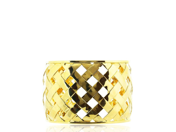 Yellow Gold Open Work Cuff Bracelet - Jewelry Boston