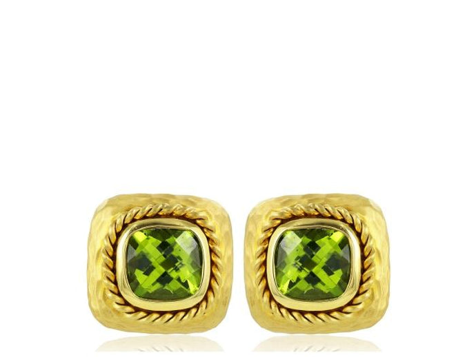 14 Karat Yellow Gold Peridot Clip Earrings - Jewelry Boston