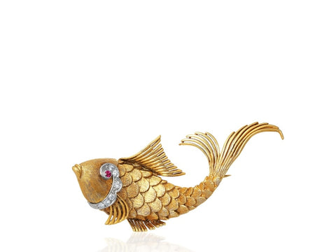Yellow Gold Vintage Fish Pin - Jewelry Boston