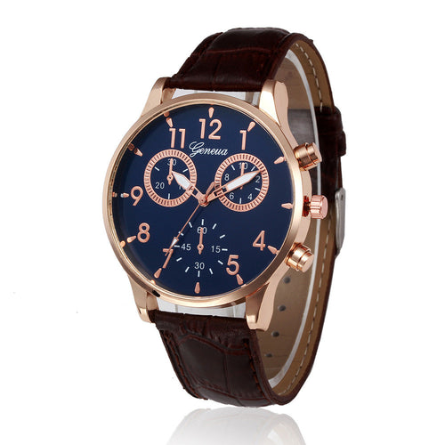Business Style Casual Watch Men Quartz Faux Chronograph Quartz Watch PU Leather Men's Wristwatches relogio masculino 2016 #