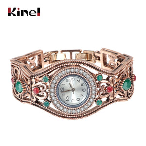 Kinel Turkish Bracelet Watches Antique Gold Color Vintage Bracelets Bangles For Women Clock Relojes Mujer Hollow Wrist Joias