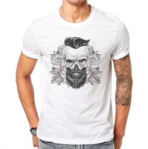 100% Cotton Summer Sketch Beard Skull Design Men T Shirts Fashion Harajuku Design Man Short Sleeve Tops Tees Clothes XXXL