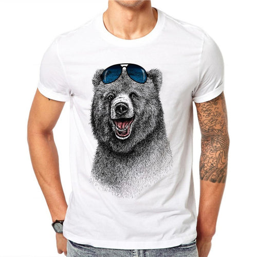 100% Cotton Summer Fashion T Shirt Tee 3D Cool Bear Animal Printed T-shirts Men Short Sleeve Slim Fit Clothing Tops Male