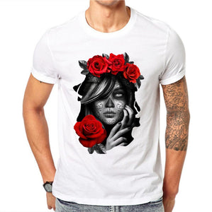 100% Cotton Gothic Style Summer Short Sleeve Devil Flowers Printed Men T Shirt Fashion Rose T-shirt O-Neck Tops Cool Tee Shirts