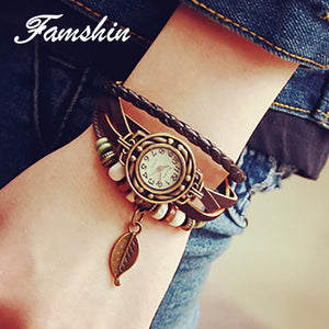 FAMSHIN Women Watches Fashion Leather Vintage Weave Wrap Quartz Wrist Watch Bracelet Watch PU Leather Bracelets Couple Watch