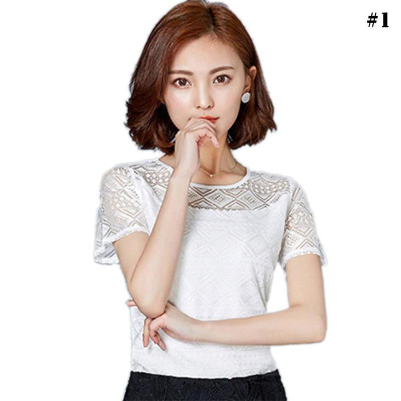 Women Summer Lace Chiffon Blouse Casual Short Sleeve White Shirts Lady Tops Hollow Out