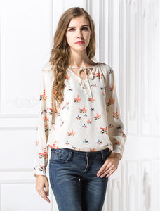 USA SIZE Flying bird shirt color flying pigeon V-neck wild rope long-sleeved printing large size chiffon shirt