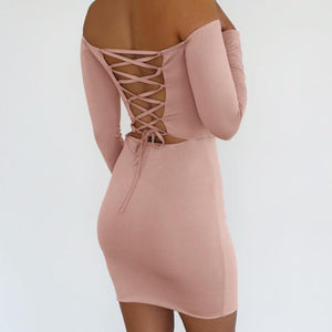 Maternity Off The Shoulder Cross Backless Bodycon Dress