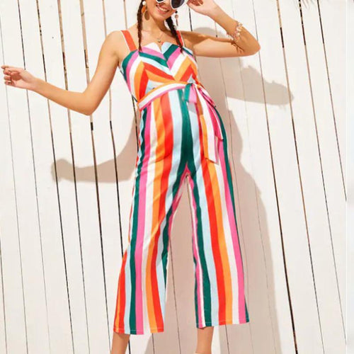 Maternity Stripe  Jumpsuit