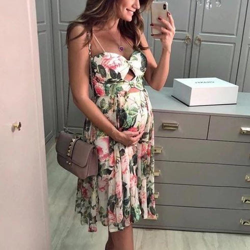 Maternity Printed Sleeveless Midi Dress