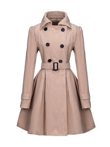 Turn Down Collar Double Breasted Belt Plain Swing Duffle Coat