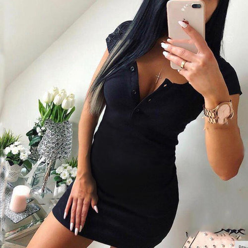 Maternity Short Sleeve Round Neck Bodycon Mini Dress