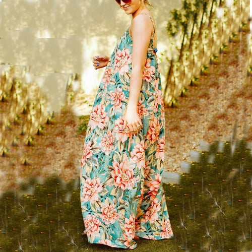 Maternity Casual Sling Printing Maxi Dress