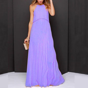 Maternity Solid Color Round Collar Sleeveless Maxi Dress