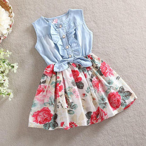 Denim Floral Printed Dress For Mom And Girls