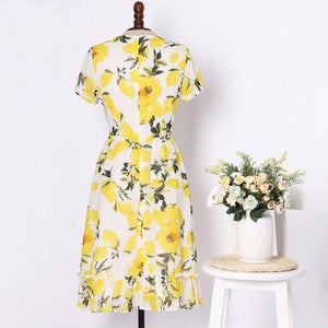 Mom Girl Yellow Lemon Print Dress