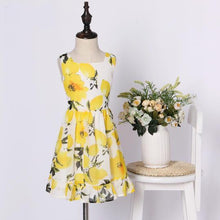 Load image into Gallery viewer, Mom Girl Yellow Lemon Print Dress