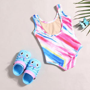 Mom Girl Stripes Swimming Suit