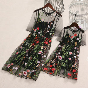 Mom Girl Embroidered Flowers Dress Set