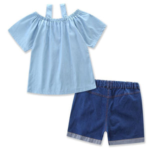 Mom Girl Cold Shoulder Two Pieces Set