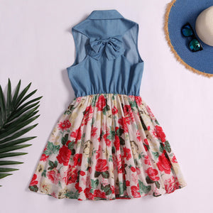 Floral Prints Denim Mom Dress
