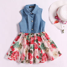 Load image into Gallery viewer, Floral Prints Denim Mom Dress