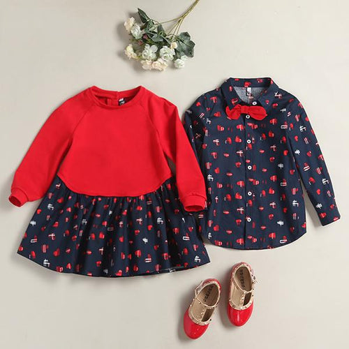 Brother Sister Loving Hearts Prints Matching Outfits