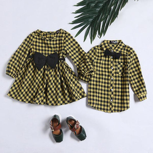 Sister Brother Yellow Plaid Bowknot Matching Outfits