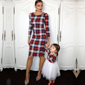 Mom Girl Plaid Tulle Matching Dress