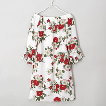Load image into Gallery viewer, Mom Girl Off The Shoulder Flowers Trumpet Sleeve Dress