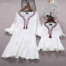 Load image into Gallery viewer, Mom Girl Ruffle Sleeve Tassels Tiered Dress