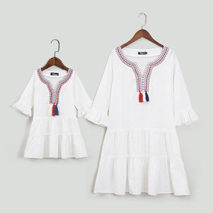 Mom Girl Ruffle Sleeve Tassels Tiered Dress