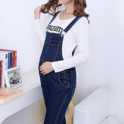 Maternity Abdomen Supportive Adjustable Suspender Jeans