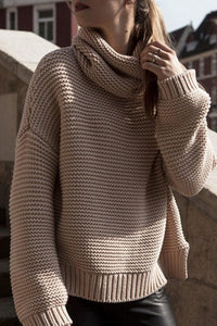 Cowl Neck  Side Vented  Plain Sweaters