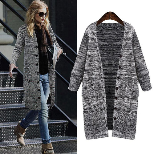 Fall Knitted Coat V-Neck Long Sleeve Cardigans Outwear