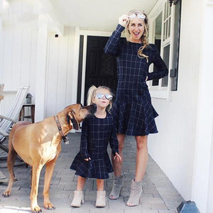 Mom Girl Plaid Frill Hem Zipper Back Matching Dress