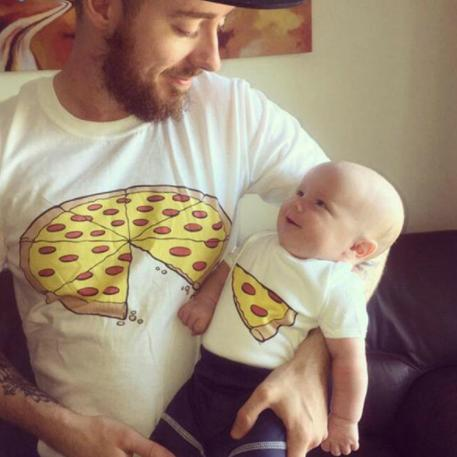 Cartoon Pizza Pattern Pullover Family T-Shirt