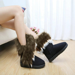 Warm Lug Sole Fur Snow Boots