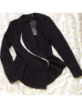 Load image into Gallery viewer, Band Collar  Flounce Zips  Plain  Long Sleeve Blazers