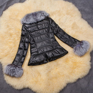 Winter Down Cotton Parka Fur Collar Zipper Coat Jacket Outwear