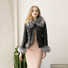 Load image into Gallery viewer, Winter Down Cotton Parka Fur Collar Zipper Coat Jacket Outwear