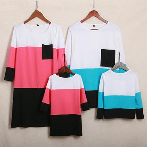 Color Block Pocket Round Neck Pullover Family Outfits