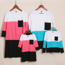 Load image into Gallery viewer, Color Block Pocket Round Neck Pullover Family Outfits