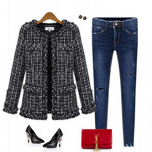 O-Neck Plaid Jacket With Pocket Casual Coat Outwear