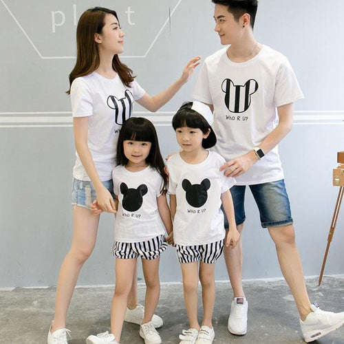 Cartoon Mouse Face Letters Pattern Family T-Shirt