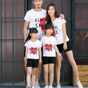 Heart Letters Pattern Pullover Family T-Shirt