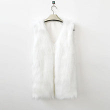 Load image into Gallery viewer, White Sleeveless Vest Faux Fur Slim Vest Coat Waistcoat Outwear