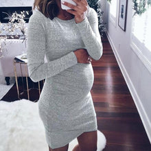 Load image into Gallery viewer, Maternity Long Sleeve Short Dress