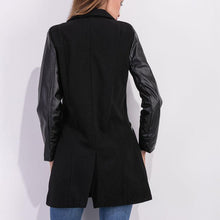 Load image into Gallery viewer, PU Leather Sleeves Woolen Jacket Coat Outwear